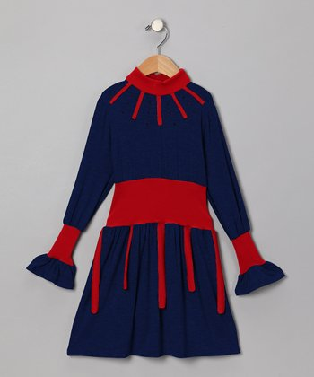 Blue & Red Dress - Toddler