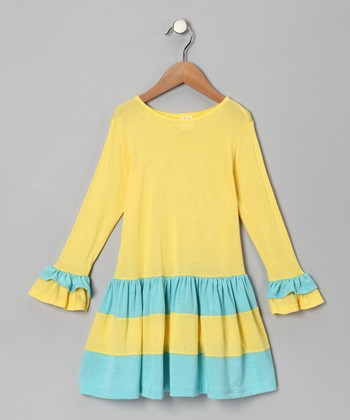 Yellow & Baby Blue Tiered Dress - Toddler & Girls
