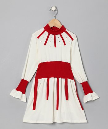 White & Red Dress - Toddler