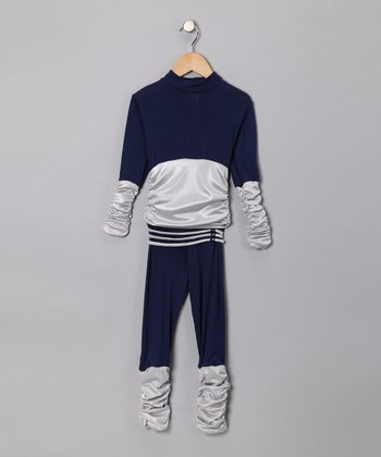 Navy Ruched Top & Pants - Toddler