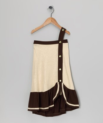 Gold & Brown Color Block Dress - Toddler