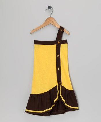 Yellow & Brown Color Block Dress - Toddler & Girls