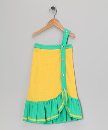 Yellow & Green Color Block Dress - Toddler