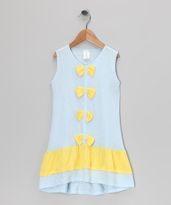 Blue & Yellow Bow Ruffle Dress - Girls