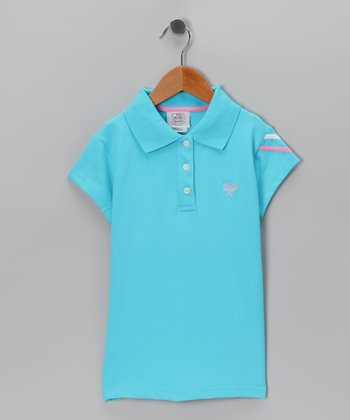 Blue Tennis Polo - Girls