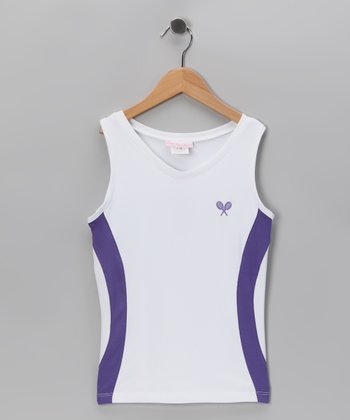 White & Purple Tank - Girls