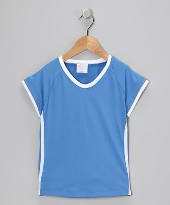Blue & White Racer Stripe Top - Girls