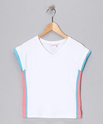 White & Blue V-Neck Top - Girls