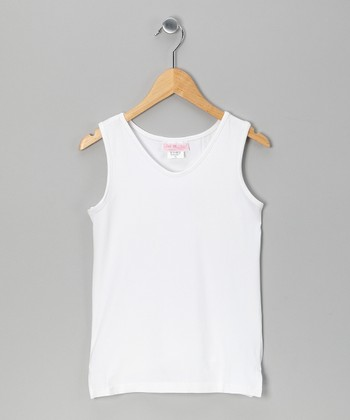 White Tennis Tank - Girls