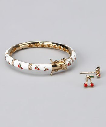 Red Cherry Earrings & Bangle