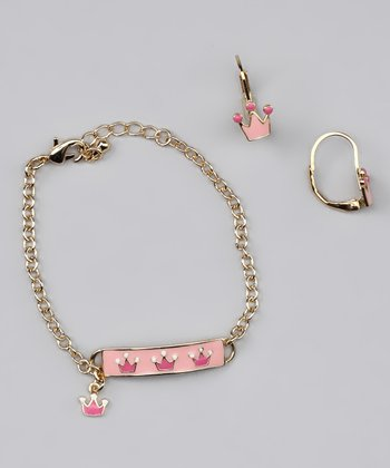 Pink Crown Earrings & ID Bracelet
