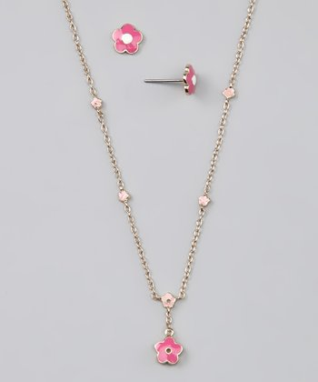 Hot Pink Flower Earrings & Necklace
