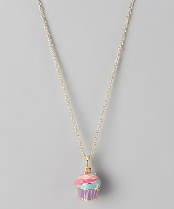Gold Swirled Cupcake Necklace