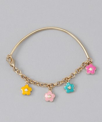 Gold Flower Bangle Bracelet