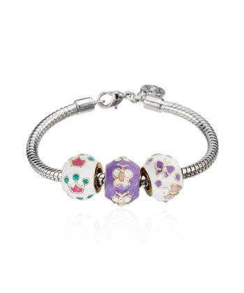 White & Purple Bead Trio Bracelet
