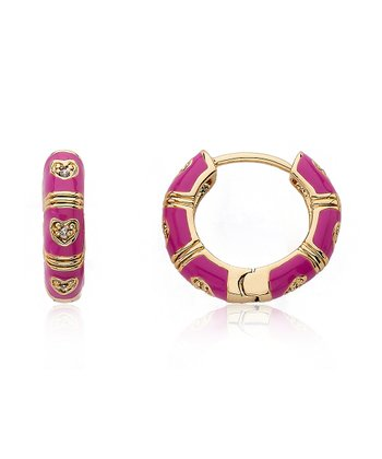 Gold & Fuchsia Cubic Zirconia Heart Huggie Earrings