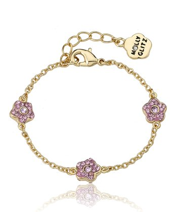 Pink Crystal & Gold Flowers Chain Bracelet