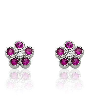 Ruby & Silver Flower Stud Earrings