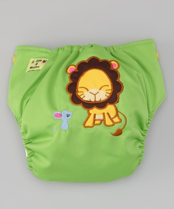 Green Lion & Mouse Pocket Diaper