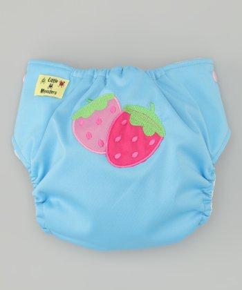 Light Blue Strawberry Pocket Diaper