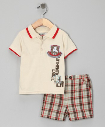Beige 'Authentic' Polo & Shorts - Infant