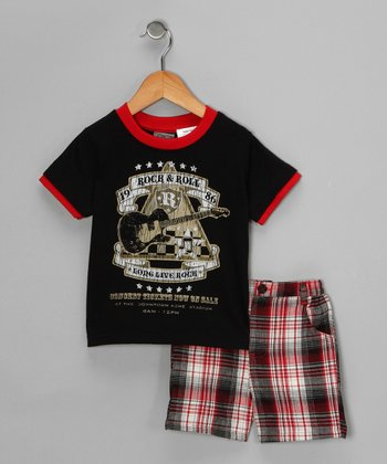 Black 'Rock & Roll' Tee & Shorts - Infant