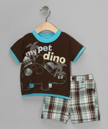 Little Rebels Brown 'My Pet Dino' Tee & Shorts - Infant