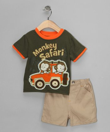 Green 'Monkey Safari' Tee & Shorts - Infant