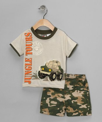 Beige 'Jungle Tours' Tee & Shorts - Infant