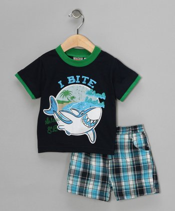 Navy 'I Bite' Tee & Shorts - Infant