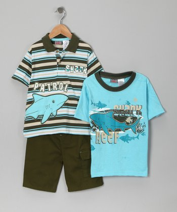 Blue 'Shark Patrol' Polo Set - Boys