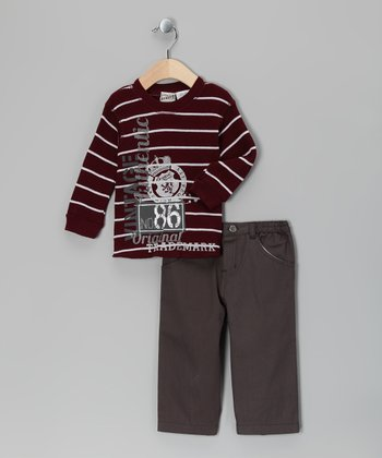Maroon Stripe Thermal & Pants - Infant