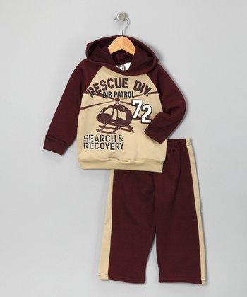 Burgundy 'Search' Hoodie & Track Pants - Infant & Toddler