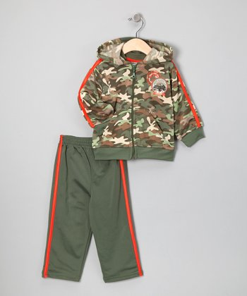 Green Camo Zip-Up Hoodie Set - Infant