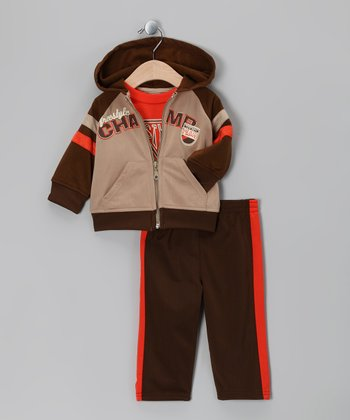 Brown & Orange 'Champ' Zip-Up Jacket Set - Infant