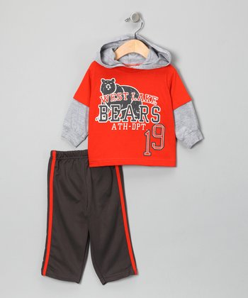 Orange 'West Lake Bears' Layered Tee & Track Pants - Toddler