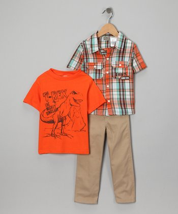 Orange T-Rex Pants Set - Toddler