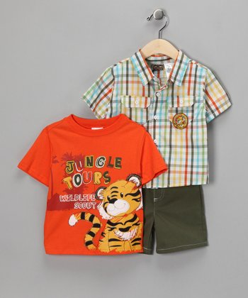 Orange Tiger Shorts Set - Infant