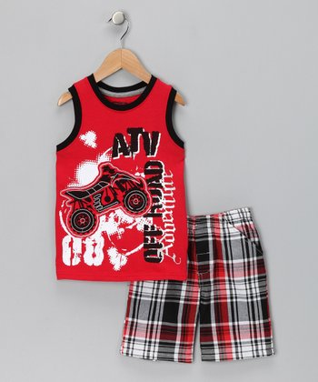 Little Rebels Red 'ATV' Tank & Plaid Shorts - Infant