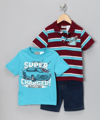 Red 'Super Charged' Shorts Set - Infant & Toddler