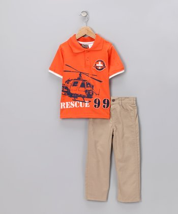 Orange 'Rescue 99' Polo & Pants - Toddler