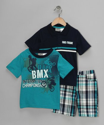 Blue 'BMX' Polo Set - Toddler