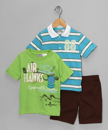 Teal 'Air Hawks' Shorts Set - Infant