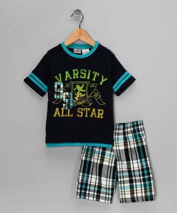 Little Rebels Navy 'Varsity' Tee & Shorts - Infant