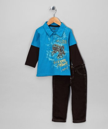 Teal 'Street Rebel' Layered Polo & Pants - Infant
