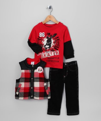Red Plaid 'Skater' Vest Set - Infant