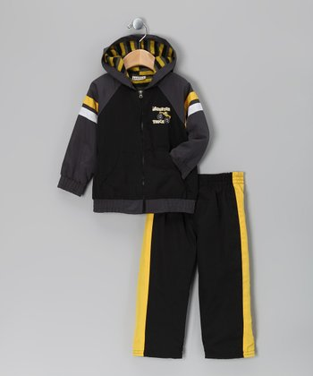 Black & Yellow Zip-Up Jacket & Track Pants - Infant