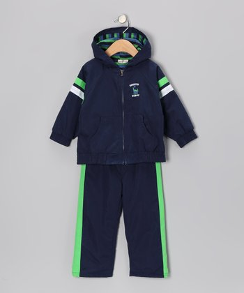 Navy Stripe Zip-Up Jacket & Track Pants - Infant