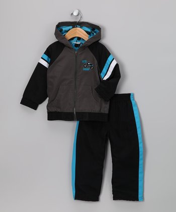 Gray 'Moto Champ' Zip-Up Jacket & Track Pants - Infant
