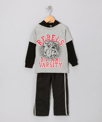Gray 'Rebels Varsity' Layered Tee & Track Pants - Infant